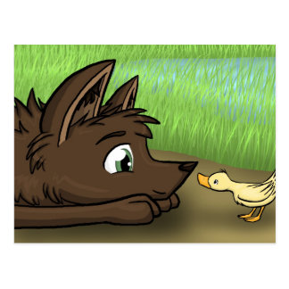 Dog and Duck Postcard