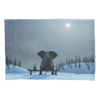 Dog and Elephant Friends (1 side) Pillowcase