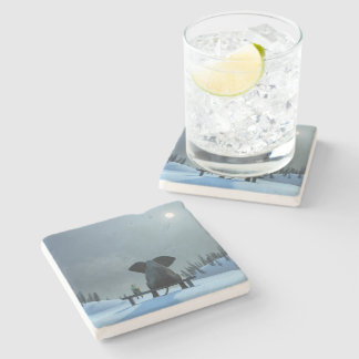 Dog and Elephant Friends Stone Coaster