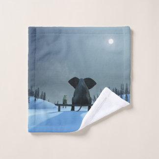 Dog and Elephant Friends Wash Cloth