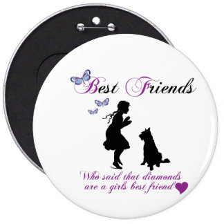 Dog and girl best friends badge