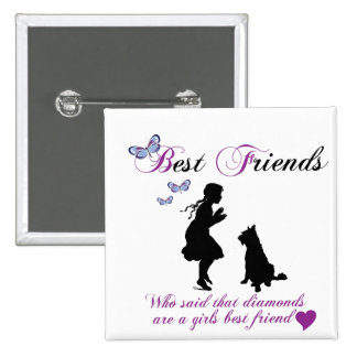 Dog and girl best friends buttons