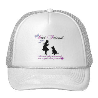 Dog and girl best friends mesh hat