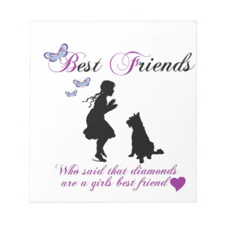 Dog and girl best friends memo note pad