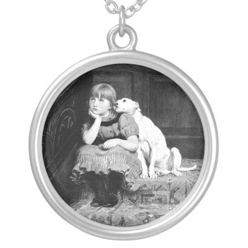 Dog and girl black and white image pendant Friends