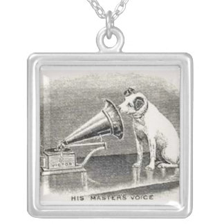 Dog and Gramaphone Silver Plated Necklace