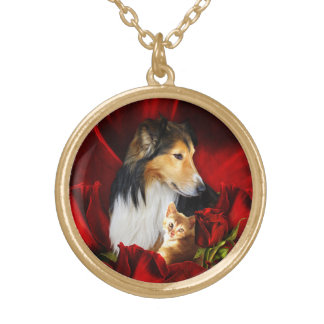 Dog and Kitten embedded in Red Roses Gold Plated Necklace