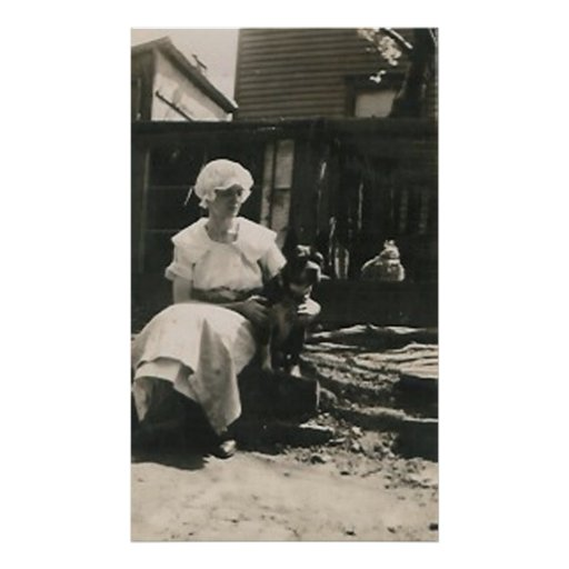 dog and lady in old bonnet posters