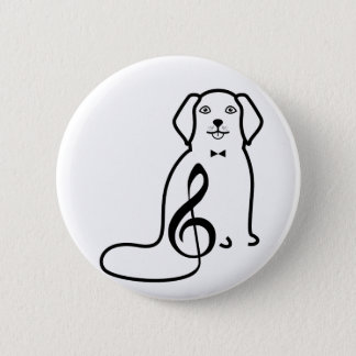 DOG AND MUSIC NOTE 6 CM ROUND BADGE