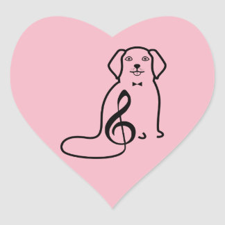 DOG AND MUSIC NOTE HEART STICKER