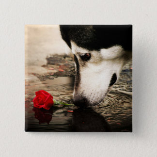 Dog and Red Rose Button