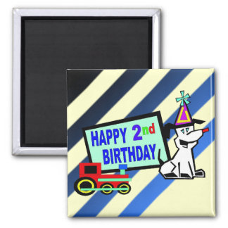 Dog and Train 2nd Birthday Square Magnet
