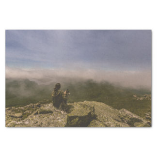 Dog and Woman on a Rocky Bluff Tissue Paper