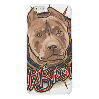 dog art radical pit bull brown and red
