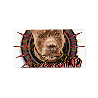 dog art radical pit bull brown and red address label