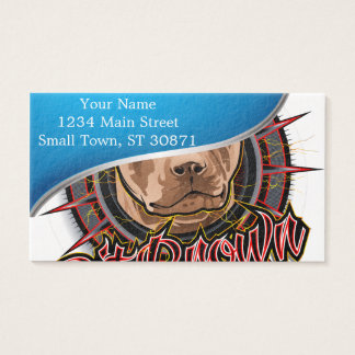 dog art radical pit bull brown and red business card