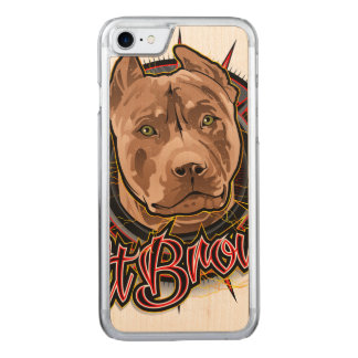 dog art radical pit bull brown and red carved iPhone 7 case