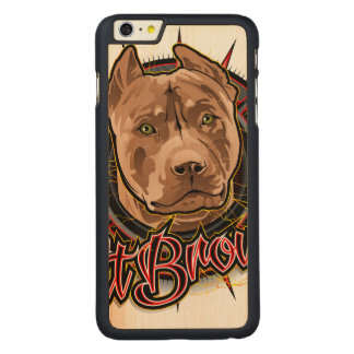 dog art radical pit bull brown and red carved® maple iPhone 6 plus case