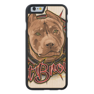 dog art radical pit bull brown and red carved® maple iPhone 6 slim case