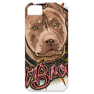 dog art radical pit bull brown and red iPhone 5 case