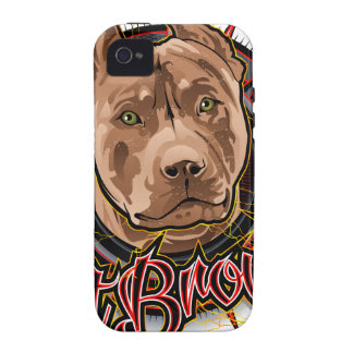 dog art radical pit bull brown and red Case-Mate iPhone 4 cover
