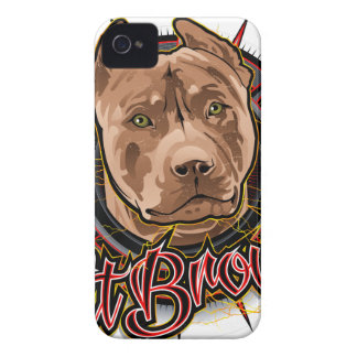 dog art radical pit bull brown and red iPhone 4 cover