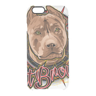dog art radical pit bull brown and red clear iPhone 6/6S case