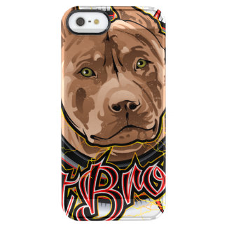 dog art radical pit bull brown and red clear iPhone SE/5/5s case