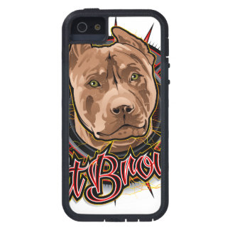 dog art radical pit bull brown and red cover for iPhone 5