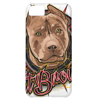 dog art radical pit bull brown and red iPhone 5C case