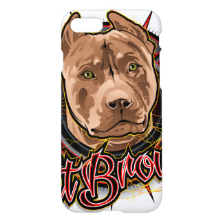 dog art radical pit bull brown and red iPhone 7 case