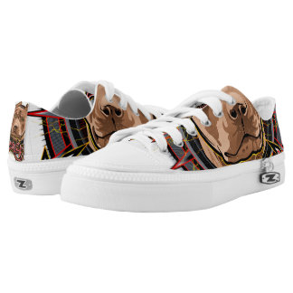 dog art radical pit bull brown and red low tops