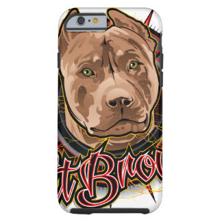 dog art radical pit bull brown and red tough iPhone 6 case