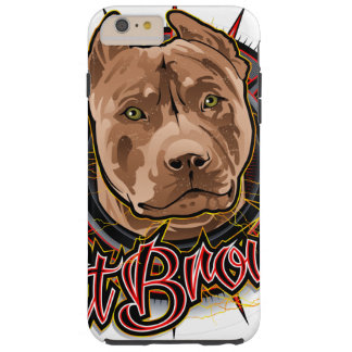 dog art radical pit bull brown and red tough iPhone 6 plus case