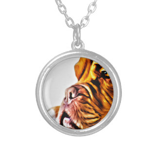 Dog Art Round Pendant Necklace