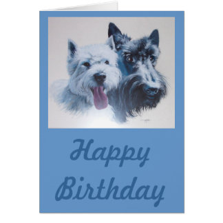 Dog Art:  Scottie & Westie Birthday Card