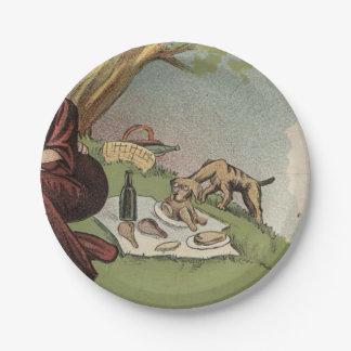 Dog at Picnic Paper Plate