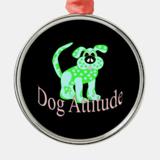 Dog Attitude Silver-Colored Round Decoration