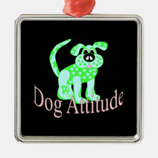 Dog Attitude Silver-Colored Square Decoration