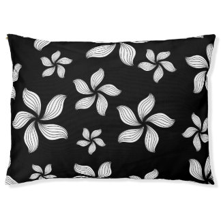 Dog Bed Black White Flowers