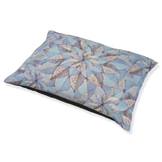Dog Bed Blue Floral Abstract Painting