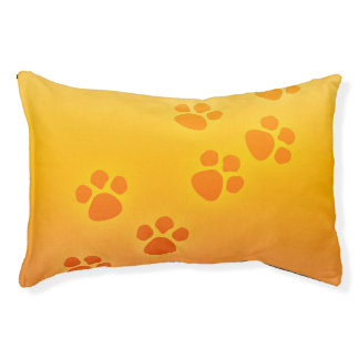 Dog Bed Orange Yellow Paw Prints