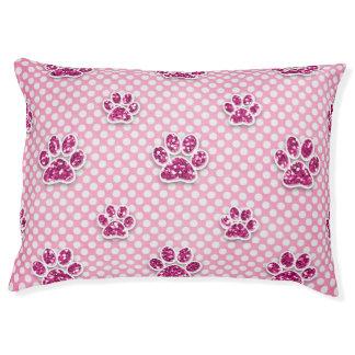 Dog Bed - Pink Glitter Paws on Polka Dot Back