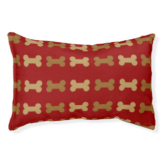 Dog Bed with Dog Bone Print