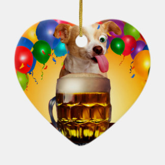 dog beer-funny dog-crazy dog-cute dog-pet dog ceramic ornament