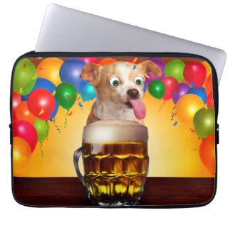 dog beer-funny dog-crazy dog-cute dog-pet dog laptop sleeve