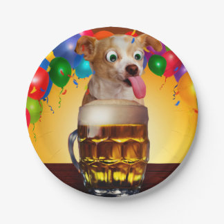 dog beer-funny dog-crazy dog-cute dog-pet dog paper plate