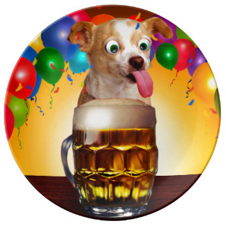 dog beer-funny dog-crazy dog-cute dog-pet dog plate