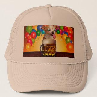 dog beer-funny dog-crazy dog-cute dog-pet dog trucker hat