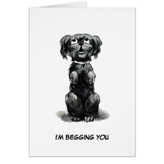 Dog Begging for Forgiveness, Late Birthday Wishes Card